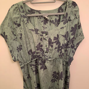 Blue and Green Floral Empire Waist Top